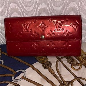 Authentic Louis Vuitton Red Vernis Wallet